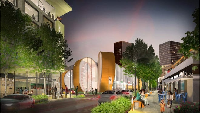"""A Strong National Museum of Play expansion to include a 120-room hotel with an indoor water feature as part of its pool and spa, 201 units of housing, """"urban retail spaces"""" and a 1,200-space parking garage, all extending from Broad Street south."""