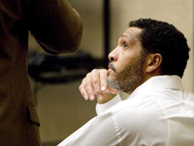 Mark Goudeau listens during his pretrial conference