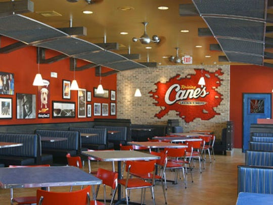 The interior of a Raising Cane's fried-chicken restaurant is seen. The Louisiana-based chain hopes to open a location in Oxnard.