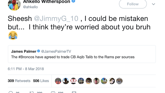 NFL players react to Broncos trading Aqib Talib to Rams