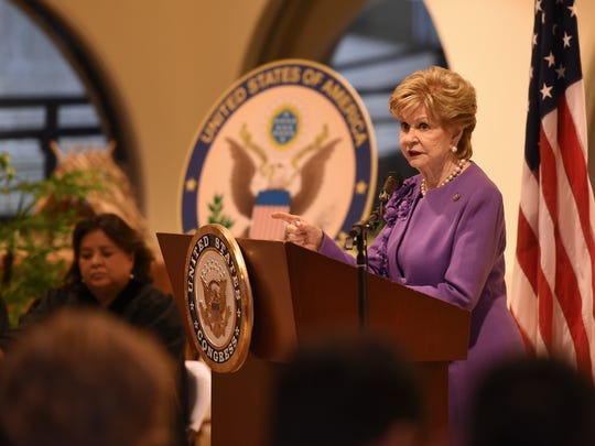 Congresswoman Madeleine Z. Bordallo delivers a speech during her swearing-in ceremony as Guam Delegate to the U.S. Congress at the Latte of Freedom - Hall of Governors in Adelup on Jan. 23, 2017.