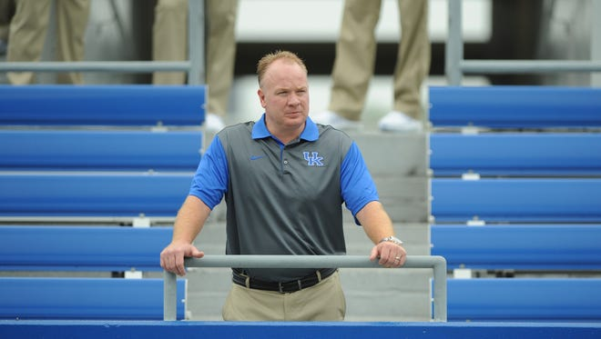 Head coach Mark Stoops during the University of Kentucky Football media day at Commonwealth Stadium in Lexington, Ky., on August 7, 2015. Photo by Mike Weaver