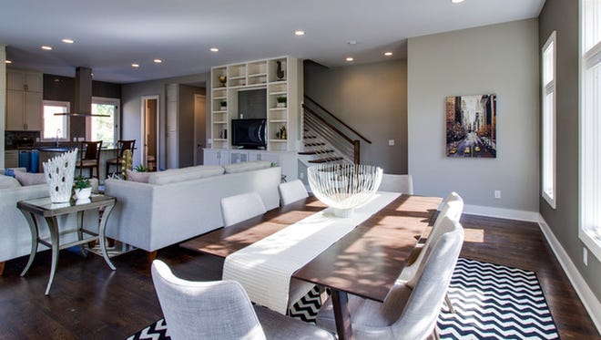 Second floor with built-in media, an open space with convenience and style in mind.