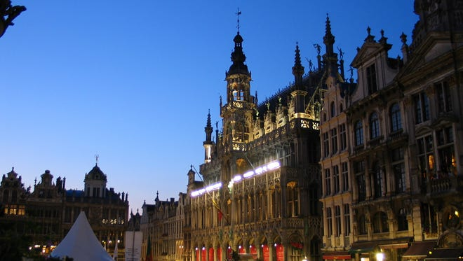 Brussels at night. The beautiful European capital is focused on terrorism, not tourism, this spring.