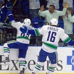 Cory Conacher celebrates his game-winning goal in Game 6 of the Western Conference Finals