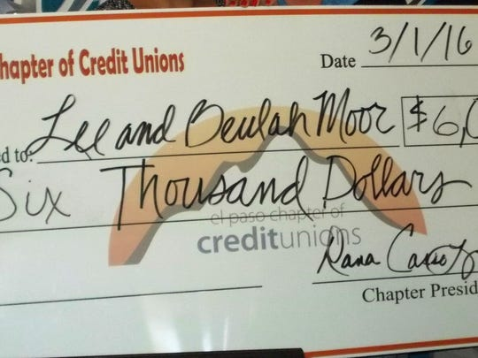 The El Paso Chapter of Credit Unions presented the check on March 1.