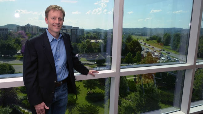 Hal Andrews, president Healthcare at Digital Reasoning Systems, Inc., stands on the fifth floor of his office which overlooks Cool Springs.