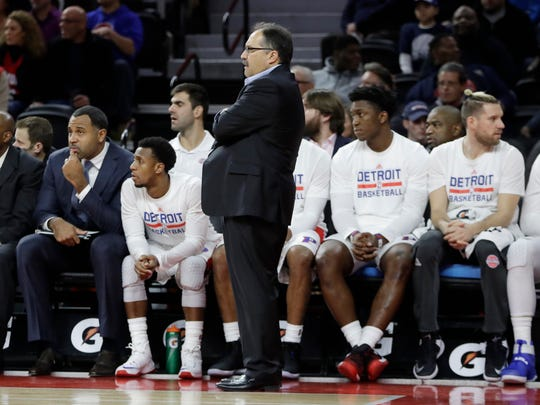 Detroit Pistons head coach Stan Van Gundy stands next to the bench during the second half of an NBA basketball game against the Indiana Pacers, Saturday, Dec. 17, 2016 in Auburn Hills, Mich. The Pacers defeated the Pistons 105-90.