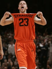 If there's a Eric Devendorf snapshot of that sticks in the minds of Syracuse fans, this might be it. It's a classic pose. This was after a 58-57 win over Georgetown in the Big East Tournament semifinals his freshman year.