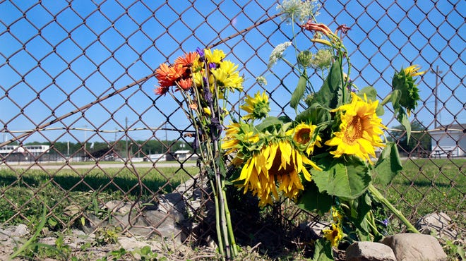 Flowers were placed outside the Canandaigua Motorsports Park on the Sunday after Kevin Ward Jr. was struck and killed by Tony Stewart during a race.