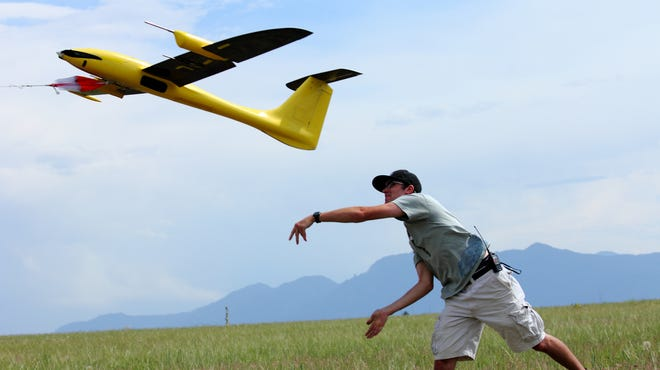 University of Colorado-Boulder unmanned aerial aircraft and graduate student Kevin Rauhauser on June 17, 2013.