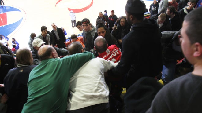 A scuffle broke out in the stands between Mahopac and Mount Vernon fans after Mount Vernon defeated Mahopac on Feb.. 27.