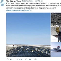 Make it rain: Gold bars worth millions fall from plane over Russia