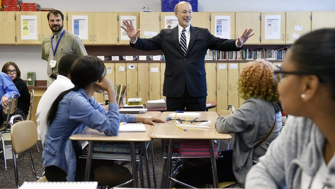 Gov. Tom Wolf encourages Ferguson K-8 eighth-grade students to continue studying diligently during class on Sept. 4, 2016, in York. The governor visited Ferguson K-8 to highlight the funding he's put toward education.