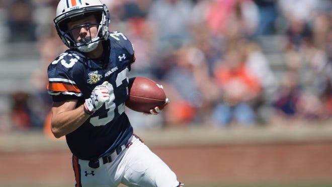 Auburn wide receiver Will Hastings (33) runs downfield during Auburn's A-Day on Saturday, April 8, 2017, at Jordan Hare Stadium in Auburn, Ala.