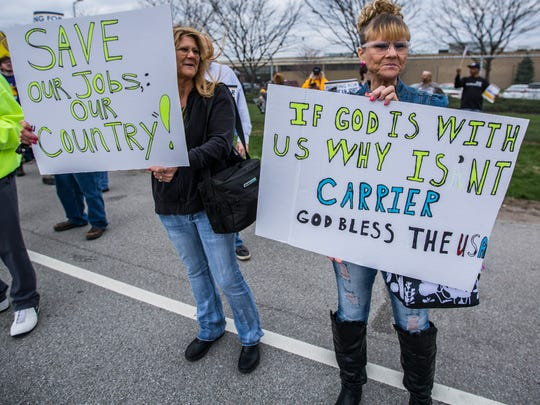 Tammy Decker (left) and Vickie Farmer have more than 50 years of combined experience at Carrier Corp. Now they may lose their jobs to Mexico.