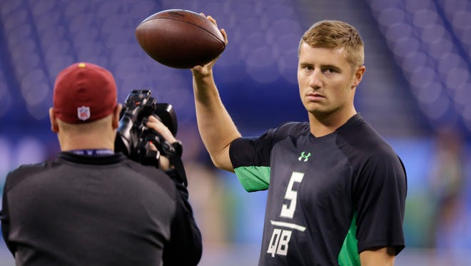 Michigan State quarterback Connor Cook at the NFL scouting combine in Indianapolis on Feb. 27, 2016.