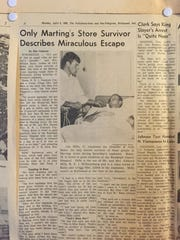 This article about Jack Bales appeared in the Palladium-Item in April 1968. He was the only person inside the main part of the Marting Arms store to survive the explosions at Sixth and East Main streets on April 6, 1968.
