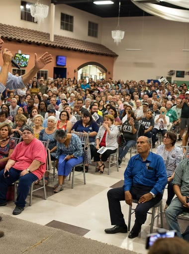 The Texas democratic caudate for Senate Rep. Beto O'Rourke speak at a town hall stop at the Valencia on Wednesday, Aug. 8, 2018.