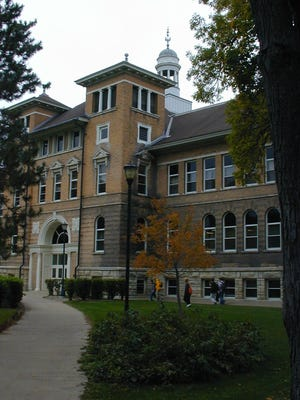 Old Main on campus at the University of Wisconsin-Stevens Point.