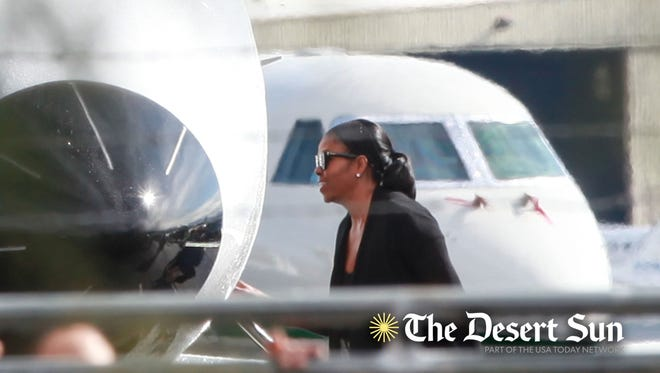 Michelle Obama boards a jet to fly out of Palm Springs International Airport, January 23, 2017.