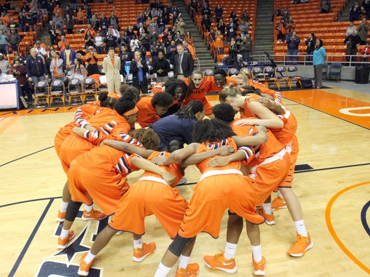 The UTEP women's basketall team gets together at the start of their championship game against Idaho State in the UTEP Thingsgiving Classic Saturday night in the Don Haskins Center.