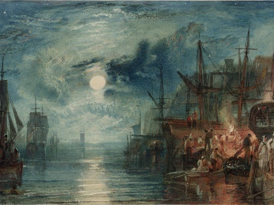 """Turner's """"Shields, on the River Tyne,"""" 1823, watercolor on paper."""