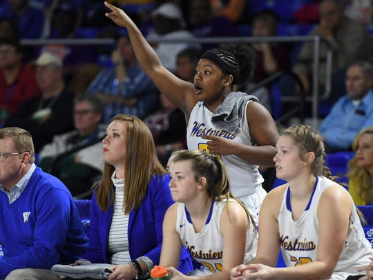 Westview's Tasia Jones coaches her team from the sideline