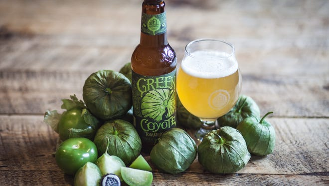 Green Coyote is a tomatillo sour beer made by Odell Brewing Co.