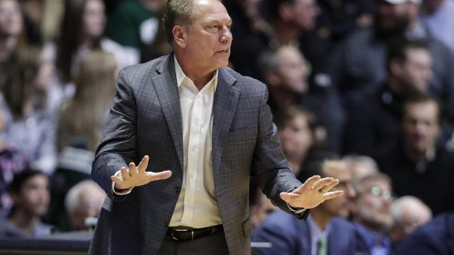 Michigan State head coach Tom Izzo gestures during the second half of an NCAA college basketball game against Purdue in West Lafayette, Ind., Sunday, Jan. 12, 2020. Purdue defeat4ed Michigan State 71-42.