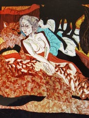 "Darcy Holmes' art quilt is featured in ""Desperation"