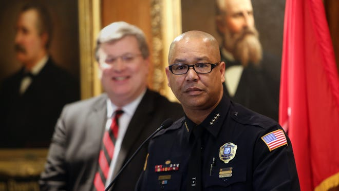 January 21, 2016 - Mike Rallings addresses the media following the announcement by Mayor Jim Strickland of his appointment as new interim police director. (Stan Carroll/The Commercial Appeal)