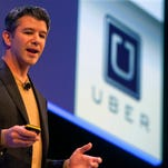 Travis Kalanick, Founder and CEO of Uber, delivers a speech at the Institute of Directors Convention at the Royal Albert Hall, Central London, Britain, 03 October 2014.