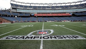 A freshly painted AFC championship logo rests on the field at Gillette Stadium, Thursday, Jan. 19, 2017, in Foxborough, Mass. The Patriots host the Pittsburgh Steelers in the AFC championship game Sunday. (AP Photo/Steven Senne)