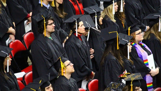 Lt. Gov. Kim Reynolds is seen at the Iowa State University Fall 2016 Commencement Ceremony on Saturday, Dec. 17, at Hilton Coliseum. Reynolds received her bachelor of liberal studies degree with 3 concentrations: political science, business management and communications.