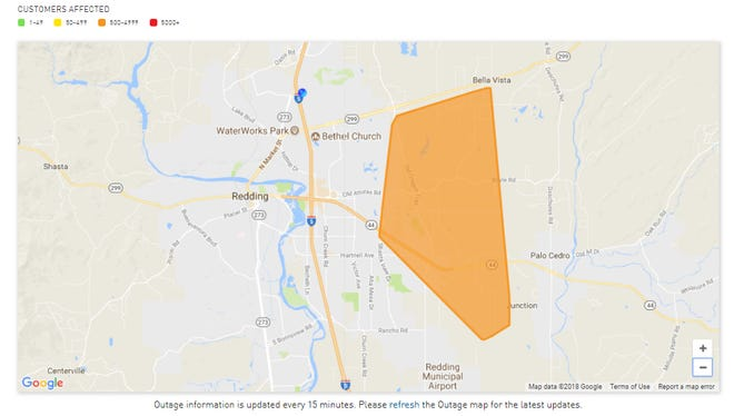 A power outage affecting 990 customers east of Redding was caused by a squirrel, PG&E said.