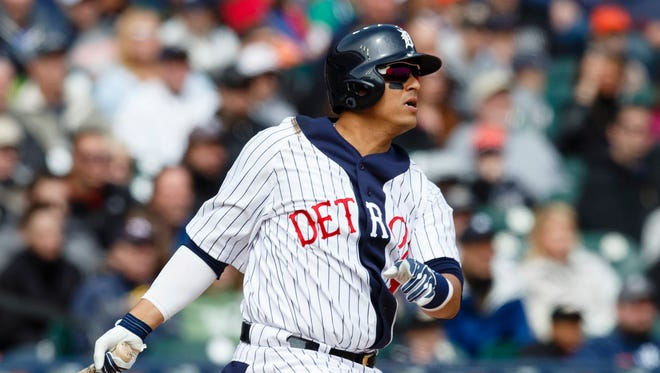 Detroit Tigers designated hitter Victor Martinez (41) at bat during the sixth inning against the Cleveland Indians at Comerica Park.