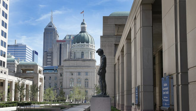 The Indiana Statehouse is viewed from the west side of Capital Street.
