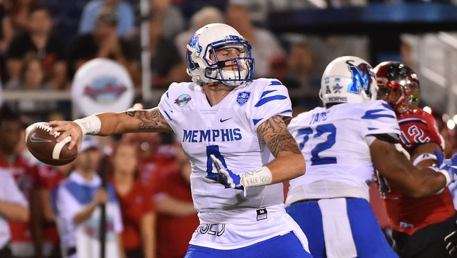 Ferguson (4) set a Memphis record by throwing 32 touchdowns in 2016.