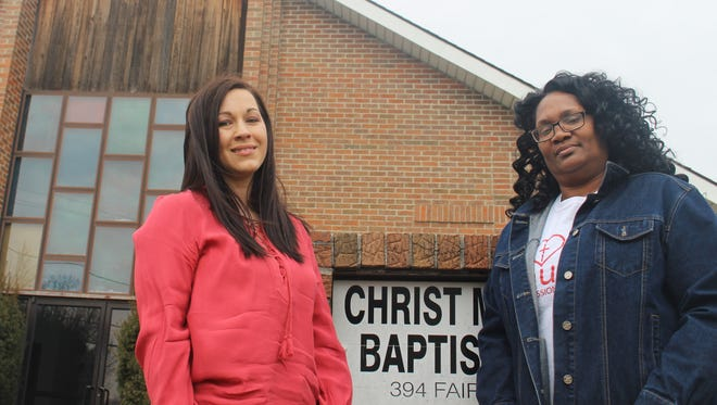 Marion residents Stefanie Miers and Danielle Collier stand in front of Christ Missionary Baptist Church on Fairview Street. They are working to start a mentorship program that will help young woman coming out of prison.