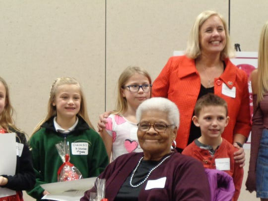 Winners of the Loveland Schools Valentine poetry contest with interim school Superintendent Dr. Amy Crouse.