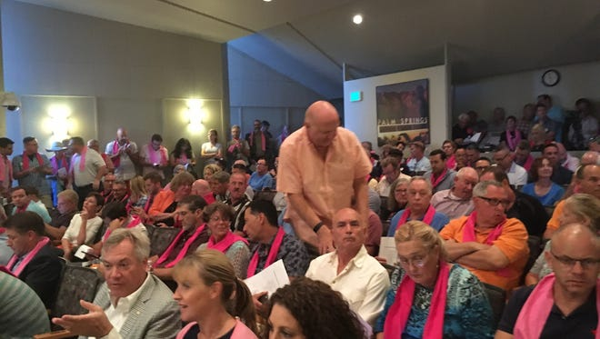 A large crowd fills Palm Springs City Hall on Oct. 26 for a special City Council meeting to discuss vacation rentals.