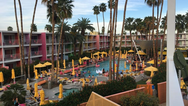 The pool area at The Saguaro Palm Springs is a perfect view from a new elevated terrace used for special events at the hotel.