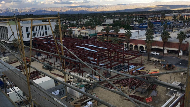 The view of the new buildings under construction along Palm Canyon Drive in Palm Springs, as seen from the top of a new Kimpton Hotel. The development is part a $350 million renovation of the site of the former Desert Fashion Plaza.