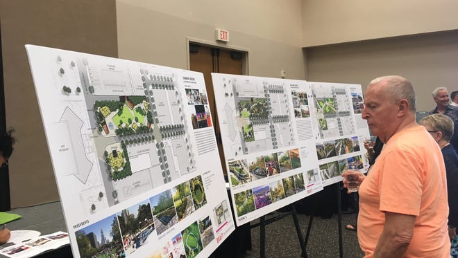 Palm Springs residents review three different design schemes for a new downtown park during a special City Council meeting Thursday in the Palm Springs Convention Center.