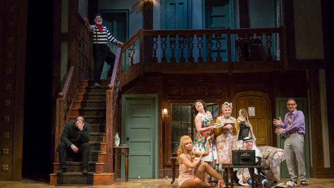 """The cast of Cincinnati Shakespeare Company's production of Michael Frayn's hilarious """"Noises Off."""" The production, which runs through June 9, is directed by Ed Stern, the former producing artistic director of the Playhouse in the Park."""