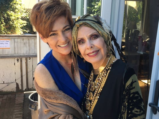 Carolyn Hennesy and aunt Barbara Rush on the set of