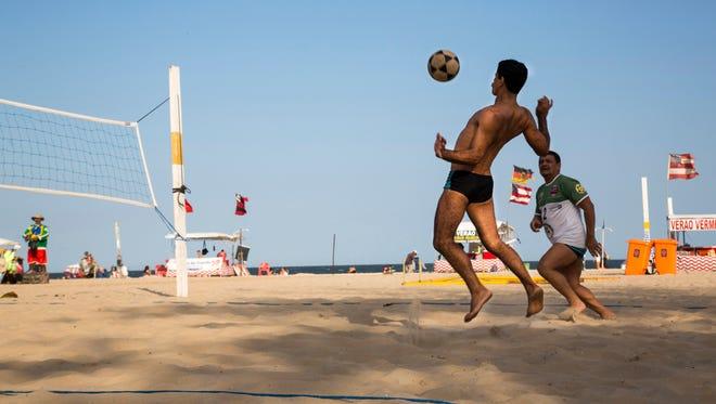 Washington Severino plays footvolley at Copacabana Beach in Rio de Janeiro, Brazil on Aug. 4, 2016.