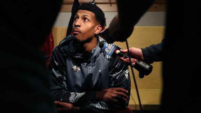 Iowa State's Darrell Bowie talks to the media before practice on Friday, March 17, 2017, at the BMO Harris Bradley Center in Milwaukee ahead of the Cyclones NCAA tournament second round game against Purdue on Saturday.