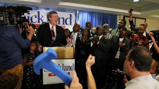 Memphis Councilman Jim Strickland reacts to cheers from supporters at his campaign watch party as they learn he defeated Mayor A C Wharton and a field of challengers by a wide margin to become mayor of Tennessee's largest city.